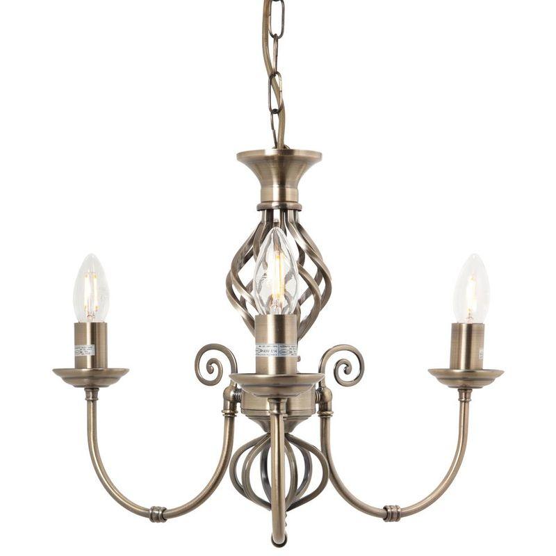 Image of 3 Light Classic Antique Brass Knot Twist Ceiling Light