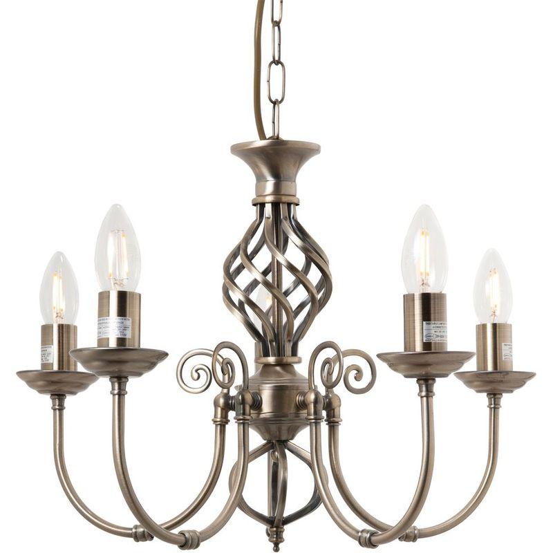 Image of 5 Light Antique Brass Classic Knot Twist Ceiling Light
