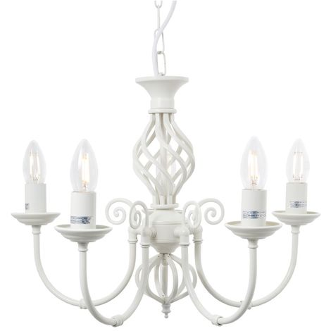 Barley 5 Light Classic Knot Twist Ceiling Light in Cream