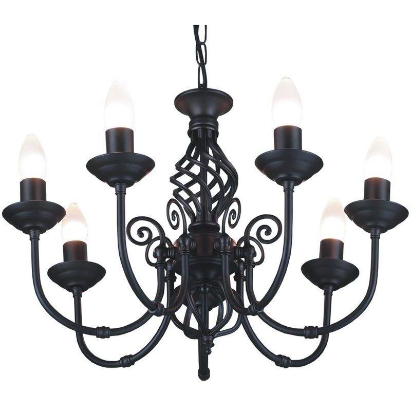 Image of 7 Light Classic Knot Twist Ceiling Light Black