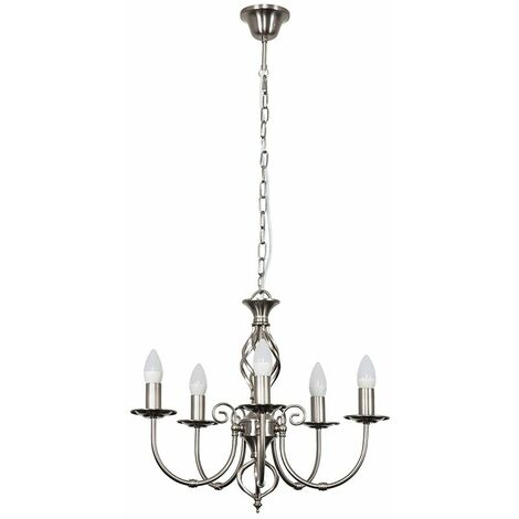 Barley Twist 5 Way Ceiling Light With 4W Warm White LED Candle Bulbs - Brushed Chrome
