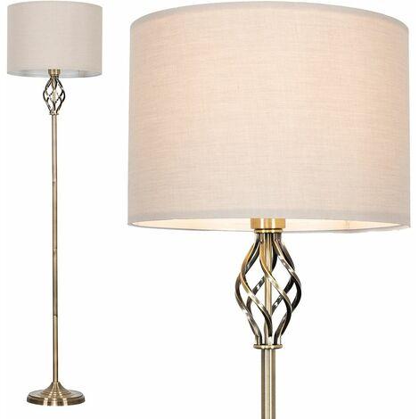 Barley Twist Floor Lamp in Antique Brass with Rolla Shade - Beige
