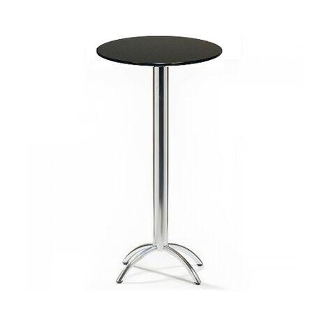 Barluna Tall Black Round Kitchen Bar Poseur Table Chrome Frame