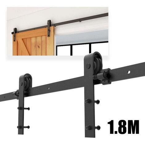 Barn Pulley Door 5.9FT Hardware Kit Sliding Track Steel Slide Track Rail Door Antique Style Sliding Door Black 1.8M for Flat Sliding Panel Wood Single Door Closet Cabinet
