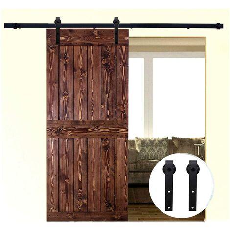 Barn Pulley Door Hardware Kit Sliding Track Steel Slide Track Rail Door Antique Style Sliding Door Black 1.8M for Flat Sliding Panel Wood Single Door Closet Cabinet(Sliding Door Mechanism)