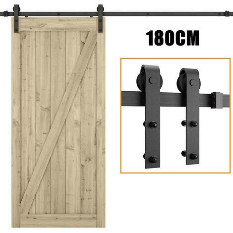 Barn Pulley Door Hardware Kit Sliding Track Steel Slide Track Rail Door Vintage Style Sliding Door Black 1.8M for Flat Sliding Panel Wood Single Door Closet Cabinet