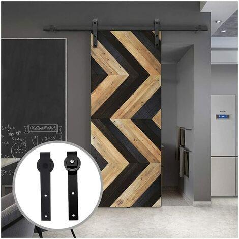 Barn Pulley Door Hardware Kit Sliding Track Steel Slide Track Rail Door Vintage Style Sliding Door Black 1.8M for Flat Sliding Panel Wood Single Door Closet Cabinet(Sliding Door Mechanism)