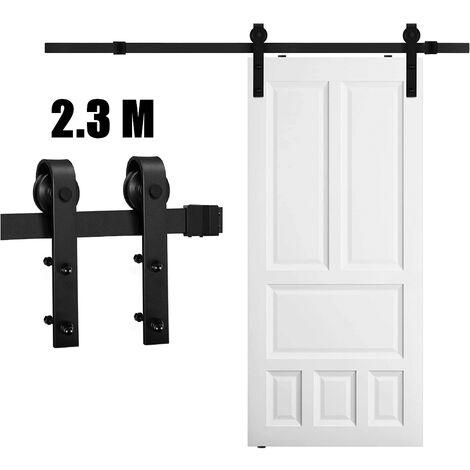 Barn Pulley Door,Hardware Kit Sliding Track Black 230cm Steel Slide Track Rail Door Antique Retro Sliding Door