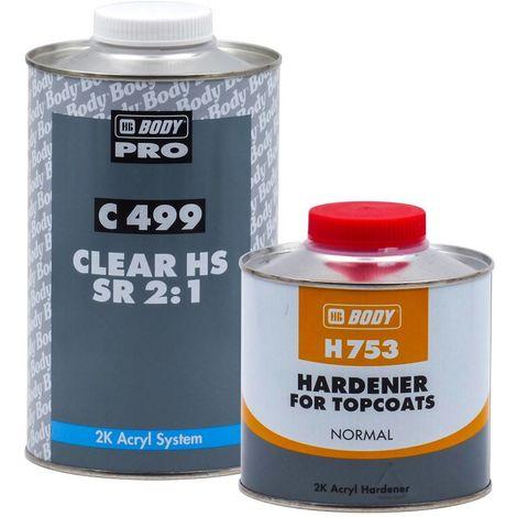 Barniz 2K Auto Clear HS 499SR HBBody | 1 L Laca + 0,5 L Catalizador