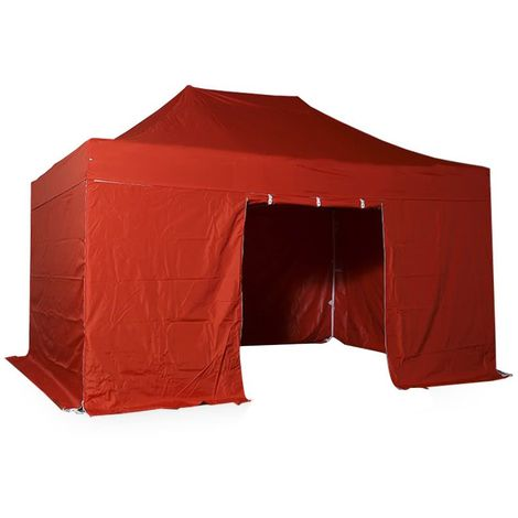 Barnum pliant tonnelle 3x4.5m Pack complet Alu 40 polyester 300g/m² pelliculé PVC ROUGE - Rouge