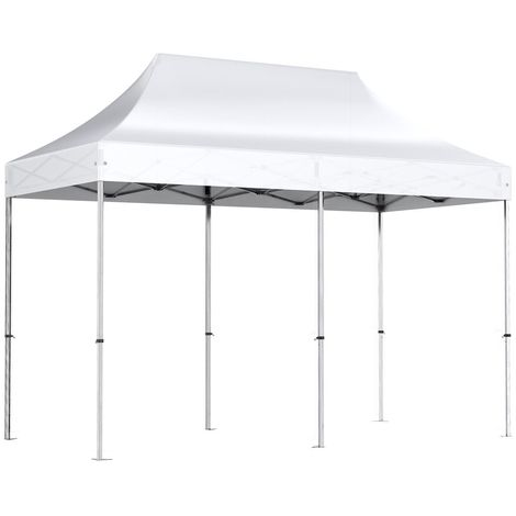 Barnum pliant tonnelle 2x4m Alu 40 polyester 300g/m² pelliculé PVC + sac de transportBlanc - Blanc