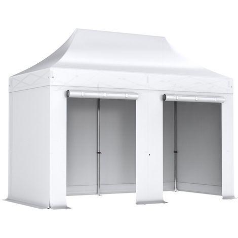 Barnum pliant tonnelle 2x4m Pack complet Alu 40 polyester 300g/m² pelliculé PVC Blanc - Blanc