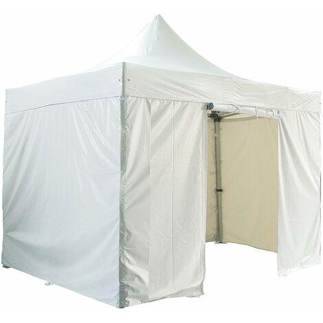 Barnum pliante 4x4m 50mm en aluminium premium PRO 520Gr/m2 Etanche avec pack 4 murs amovibles blanche tente de Réception Qualité