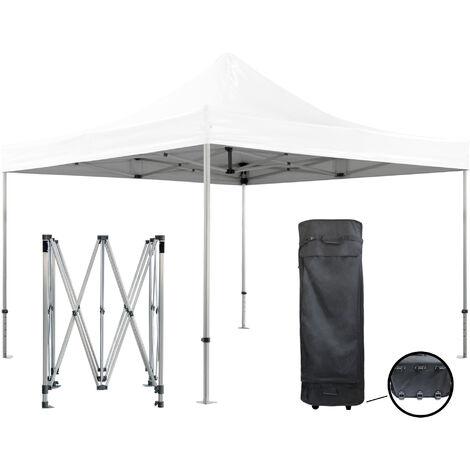 Barnum pliante 4x4m 50mm en aluminium premium PRO 520Gr/m2 étanche blanche tente de Réception Qualité