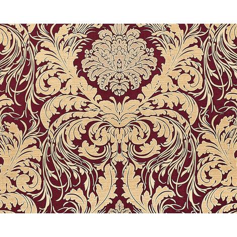 Barock Tapete EDEM 9017-35 heißgeprägte Vliestapete geprägt mit floralen Ornamenten glitzernd rot wein-rot beige 10,65 m2