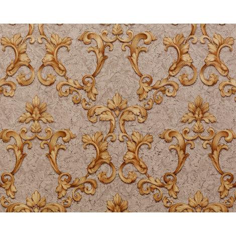 Barock Tapete EDEM 9085-26 heißgeprägte Vliestapete geprägt mit floralen 3D Ornamenten schimmernd beige grau-beige sand-gelb gold 10,65 m2
