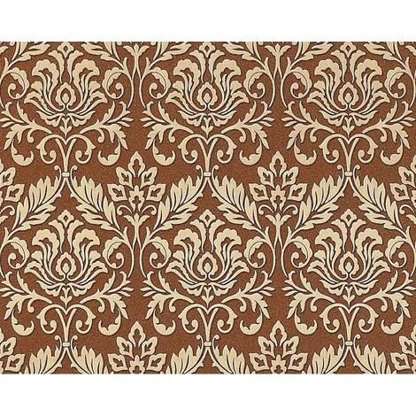 Baroque royal damask wallpaper wall EDEM 981-46 heavyweight non-woven fawn brown cigar brown gold 26.5 sqm 114 sq ft