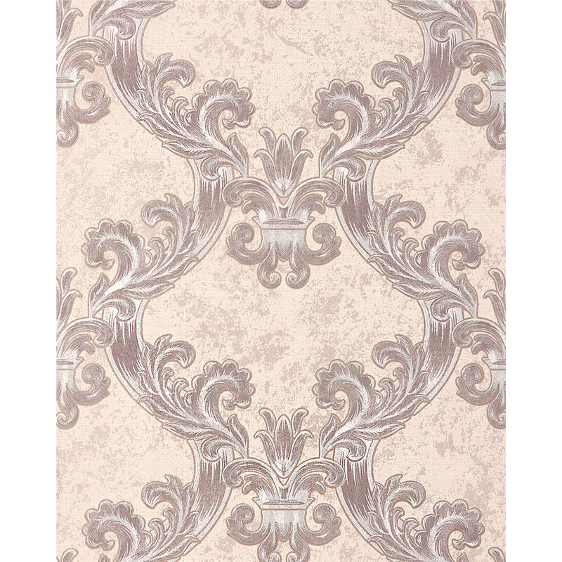 Image of Baroque wallcovering wall 1026-13 vinyl wallpaper textured with ornaments and metallic highlights cream beige silver 5.33 m2 (57 ft2) - Edem