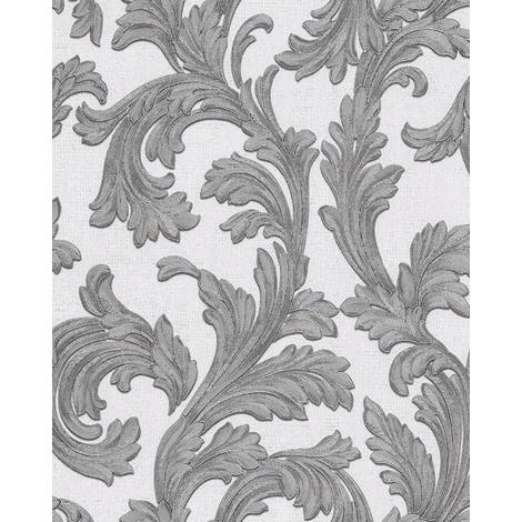 Baroque wallcovering wall EDEM 1032-10 vinyl wallpaper smooth with ornaments and metallic highlights white silver 5.33 m2 (57 ft2)