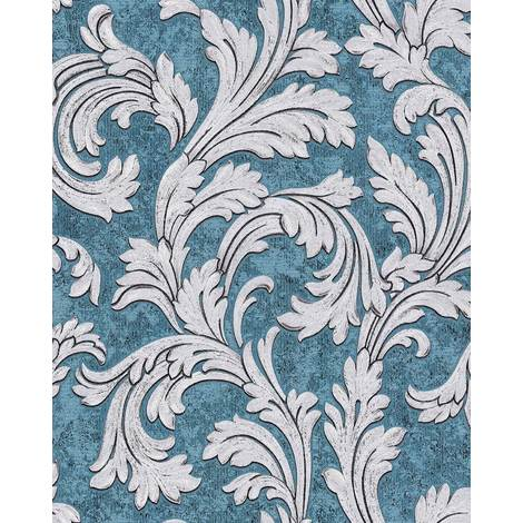 Baroque wallcovering wall EDEM 1032-12 vinyl wallpaper smooth with ornaments and metallic highlights blue teal silver platinum 5.33 m2 (57 ft2)
