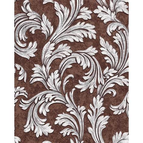 Baroque wallcovering wall EDEM 1032-16 vinyl wallpaper smooth with ornaments and metallic highlights brown silver 5.33 m2 (57 ft2)