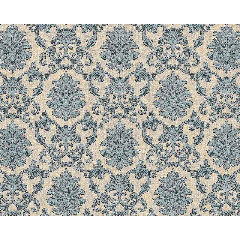 Image of Baroque wallcovering wall 6001-90 non-woven wallpaper embossed with ornaments glittering beige blue-green grey 10.65 m2 (114 ft2) - Edem