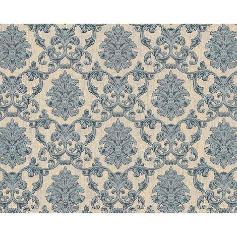 Baroque wallcovering wall EDEM 6001-90 non-woven wallpaper embossed with ornaments glittering beige blue-green grey 10.65 m2 (114 ft2)