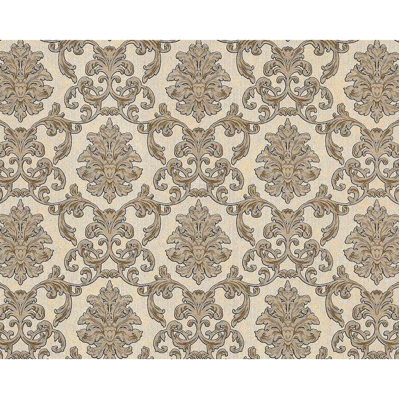 Image of Baroque wallcovering wall 6001-91 non-woven wallpaper embossed with ornaments glittering cream beige gold 10.65 m2 (114 ft2) - Edem