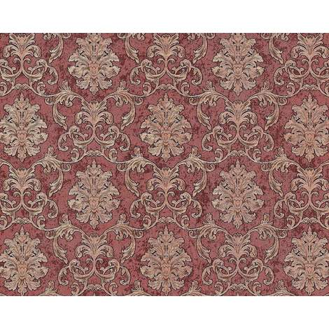 Baroque wallcovering wall EDEM 6001-94 non-woven wallpaper embossed with ornaments glittering red copper gold 10.65 m2 (114 ft2)