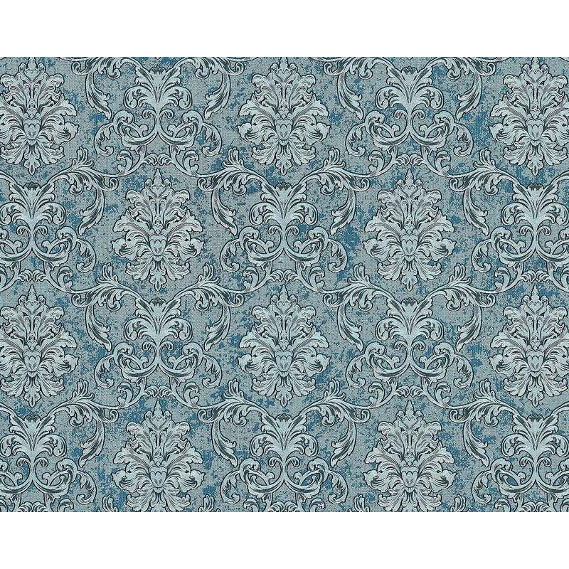 Image of Baroque wallcovering wall 6001-95 non-woven wallpaper embossed with ornaments glittering turquoise silver teal 10.65 m2 (114 ft2) - Edem