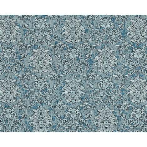 Baroque wallcovering wall EDEM 6001-95 non-woven wallpaper embossed with ornaments glittering turquoise silver teal 10.65 m2 (114 ft2)