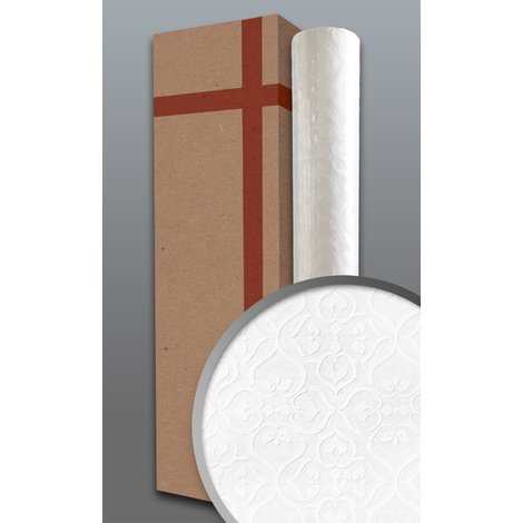 Baroque wallcovering wall EDEM 83001BR60 paintable non-woven wallpaper textured with ornaments matt white 1 box 4 rolls 106 m2 (1141 ft2)
