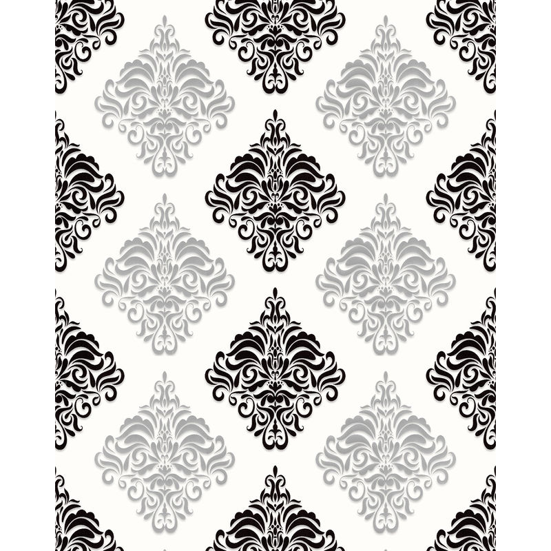 Image of Baroque wallcovering wall 85024BR20 vinyl wallpaper smooth with ornaments and metallic highlights white black silver 5.33 m2 (57 ft2) - Edem