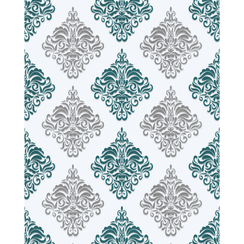 Image of Baroque wallcovering wall 85024BR25 vinyl wallpaper smooth with ornaments and metallic highlights white turquoise pearl gentian blue silver 5.33 m2