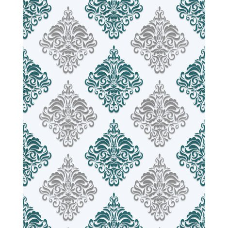 Baroque wallcovering wall EDEM 85024BR25 vinyl wallpaper smooth with ornaments and metallic highlights white turquoise pearl gentian blue silver 5.33 m2 (57 ft2)