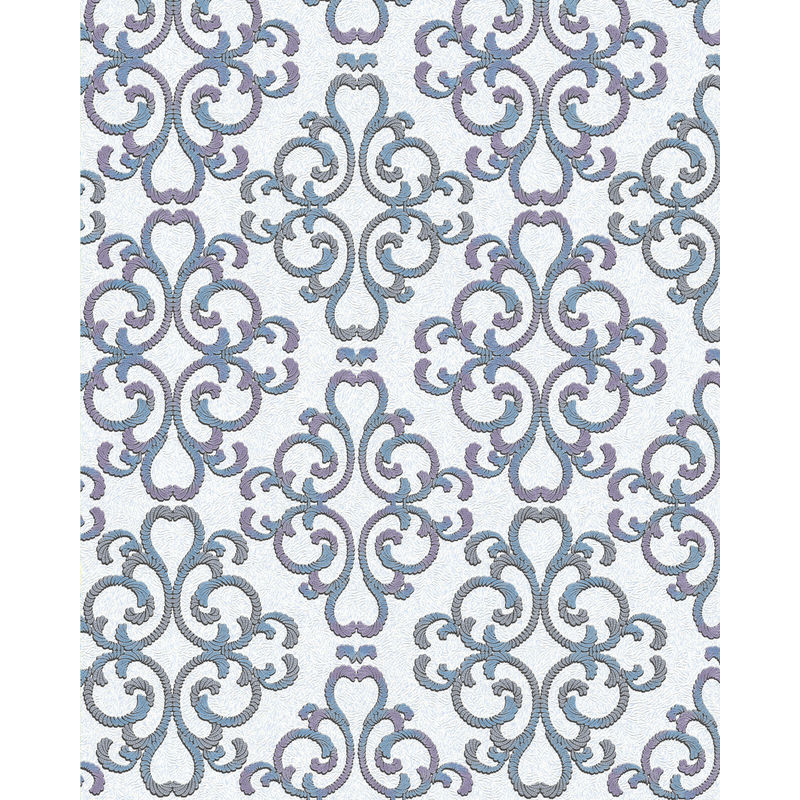 Image of Baroque wallcovering wall 85037BR30 wallpaper textured baroque style shiny white turquoise blue purple silver 5.33 m2 (57 ft2) - Edem