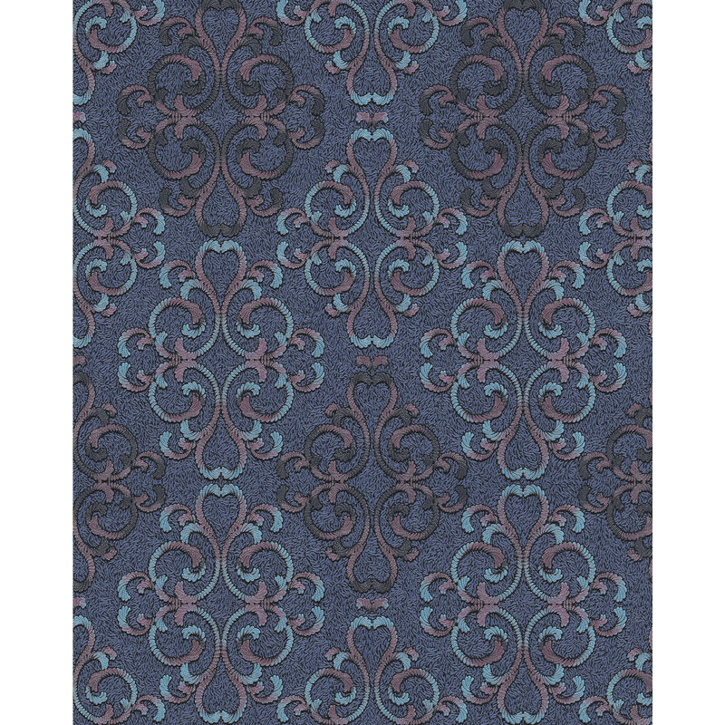 Image of Baroque wallcovering wall 85037BR32 wallpaper textured baroque style shiny blue turquoise blue purple black 5.33 m2 (57 ft2) - Edem