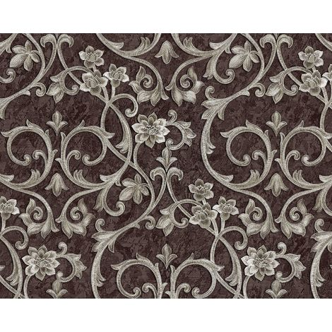 Baroque wallcovering wall EDEM 9016-36 non-woven wallpaper embossed with floral ornaments and metallic highlights brown pearl-beige 10.65 m2 (114 ft2)