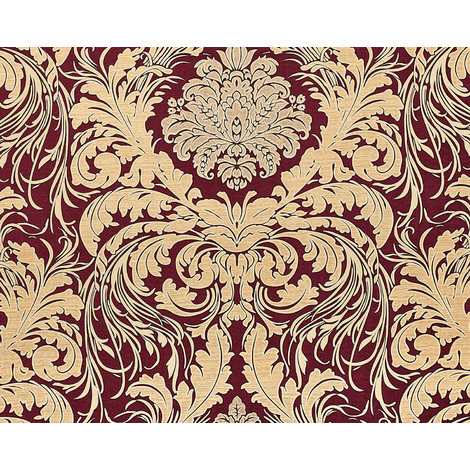 Baroque wallcovering wall EDEM 9017-35 hot embossed non-woven wallpaper embossed with floral ornaments glittering red wine red beige 10.65 m2 (114 ft2)