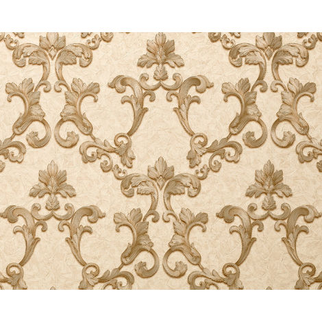 Baroque wallcovering wall EDEM 9085-22 hot embossed non-woven wallpaper embossed with floral 3D ornaments shimmering cream grey beige pearl gold 10.65 m2 (114 ft2)
