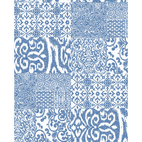 Baroque wallcovering wall Profhome VD219149-DI hot embossed non-woven wallpaper embossed collage style shiny blue white 5.33 m2 (57 ft2)