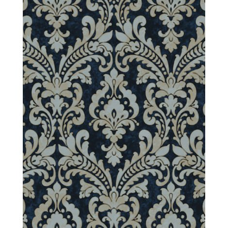 Baroque wallcovering wall Profhome VD219175-DI hot embossed non-woven wallpaper embossed with ornaments shimmering blue gold light grey 5.33 m2 (57 ft2)