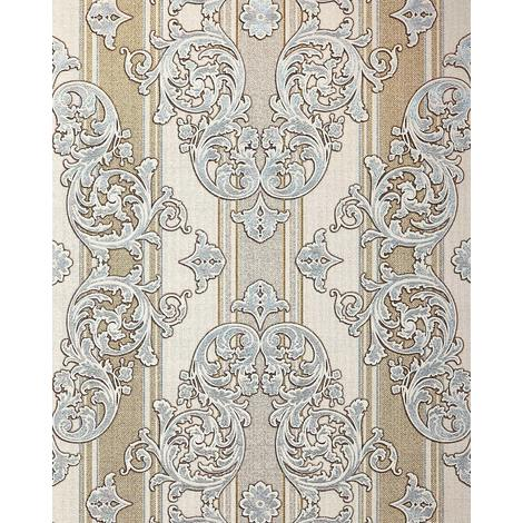 Baroque-wallpaper wall EDEM 580-30 blown vinyl wallpaper textured with a fabric look and metallic highlights cream light-ivory pearl-gold silver 5.33 m2 (57 ft2)