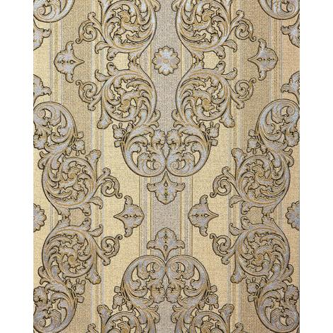 Baroque-wallpaper wall EDEM 580-31 blown vinyl wallpaper textured with a fabric look and metallic highlights beige saffron-yellow pearl-gold silver 5.33 m2 (57 ft2)