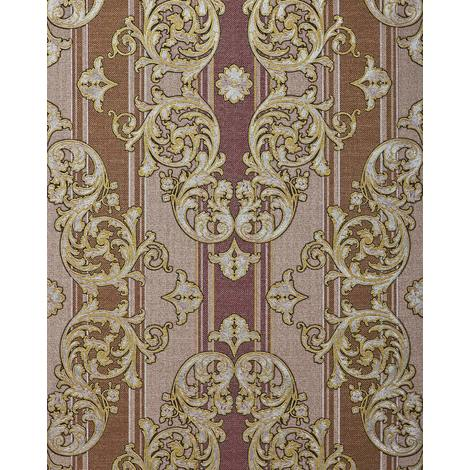 Baroque-wallpaper wall EDEM 580-34 blown vinyl wallpaper textured with a fabric look and metallic highlights brown red-brown pearl-gold silver 5.33 m2 (57 ft2)