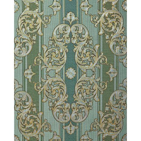 Baroque-wallpaper wall EDEM 580-35 blown vinyl wallpaper textured with a fabric look and metallic highlights green pine-green pearl-gold silver 5.33 m2 (57 ft2)