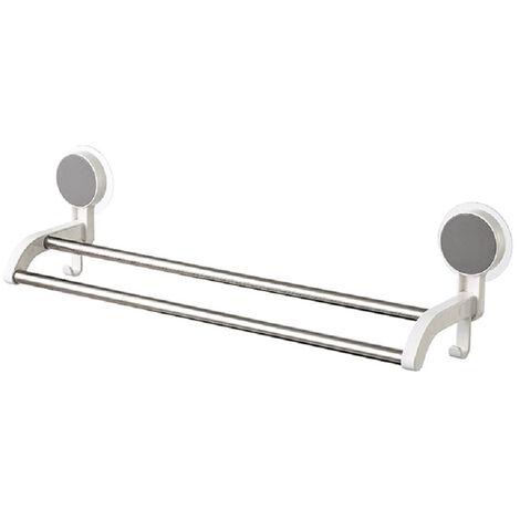 Barra adhesiva para toallas de bano, con 2 postes de acero inoxidable, sin perforaciones, con un peso de 6.6 libras de toallas