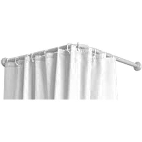 Barra blanca para cortina curva de 80x80