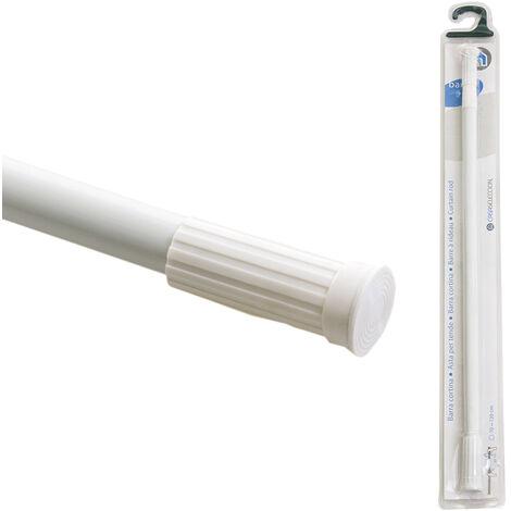 Barra cortina de ducha blanca de aluminio de 110 a 200 cm