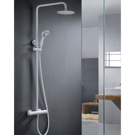 Barra de ducha termostatica blanco mate Serie Londres - IMEX